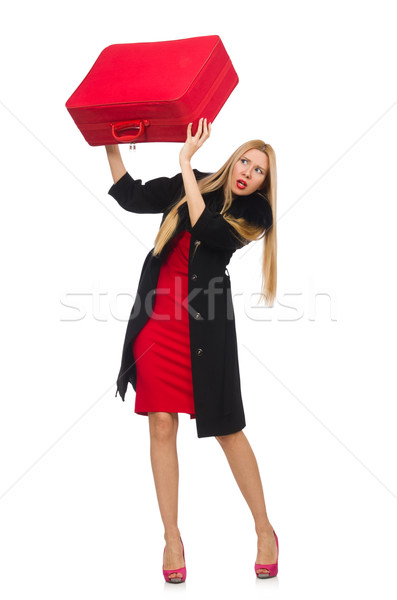 Pretty blond woman holding suitcase isolated on white Stock photo © Elnur