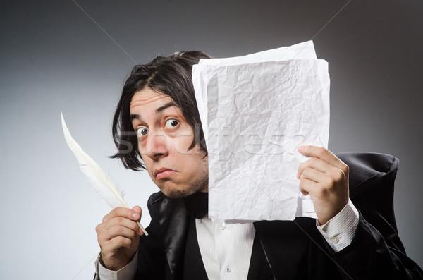 Funny escritor vintage papel mano hombre Foto stock © Elnur