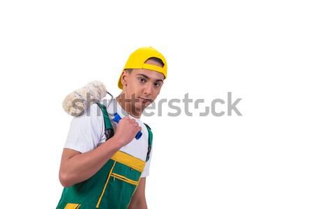 Fiatal szerelő festő izolált fehér építkezés Stock fotó © Elnur