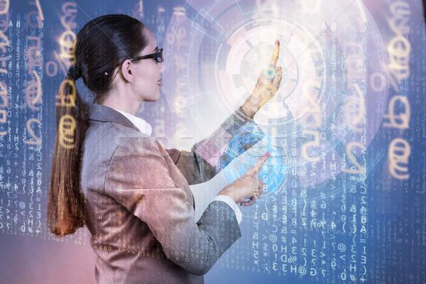 Businesswoman of digital age in concept Stock photo © Elnur