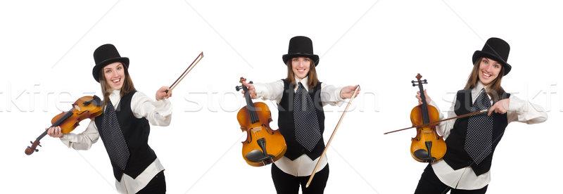 ストックフォト: 女性 · バイオリン · プレーヤー · 孤立した · 白 · 木材