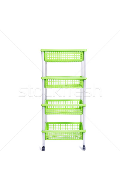 Green bin rack shelf with wheels isolated on white Stock photo © Elnur