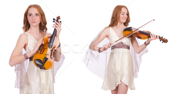 Woman with violin isolated on white Stock photo © Elnur