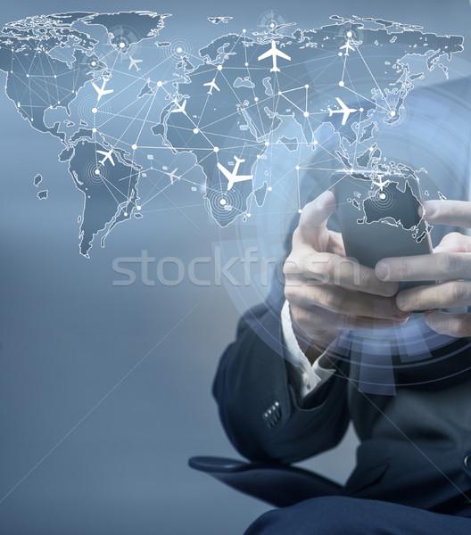 Online rezerwacja Internetu klawiatury podróży Zdjęcia stock © Elnur