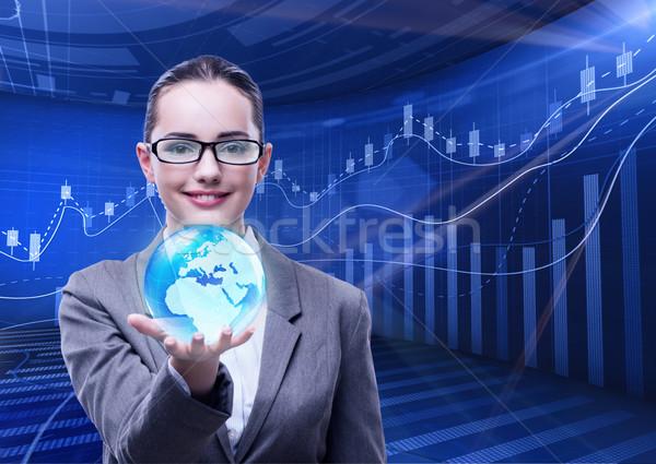 Empresária global de negócios negócio abstrato mundo terra Foto stock © Elnur