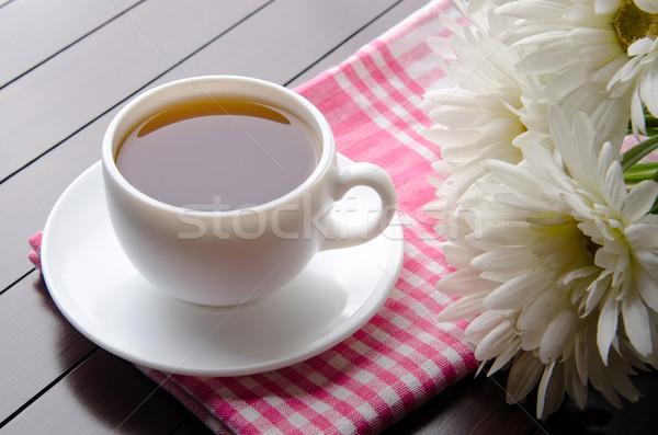 Kubek herbaty wyżywienie kwiaty szkła zielone Zdjęcia stock © Elnur