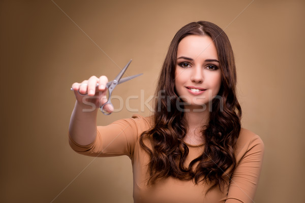 Gyönyörű nő olló vág haj textúra modell Stock fotó © Elnur