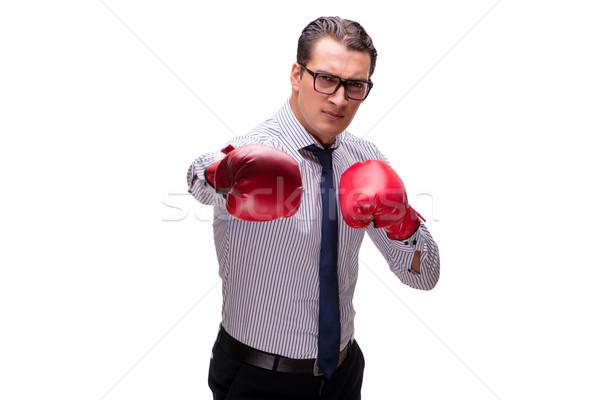 агрессивный бизнесмен боксерские перчатки изолированный белый бизнеса Сток-фото © Elnur