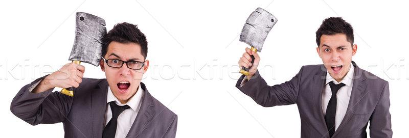 男 斧 孤立した 白人 白 ビジネス ストックフォト © Elnur