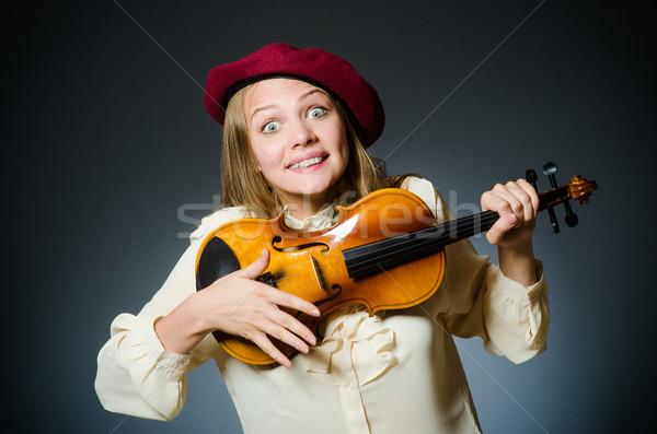 Kadın keman oyuncu müzikal konser ses Stok fotoğraf © Elnur