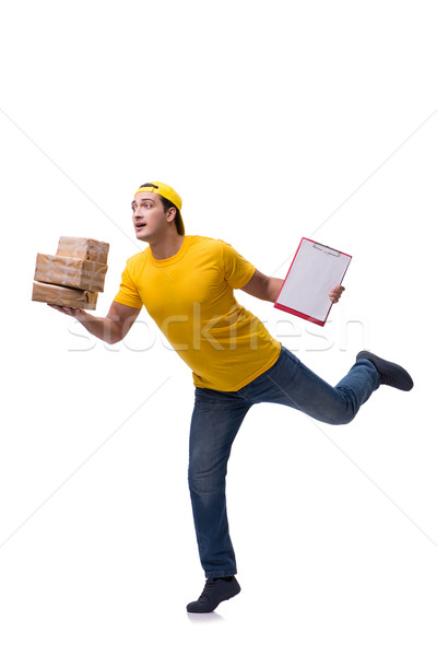 Man delivering christmas present isolated on white Stock photo © Elnur