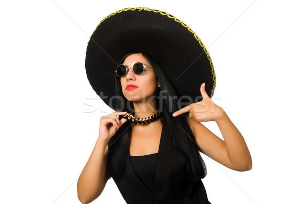 Jovem mexicano mulher sombrero isolado Foto stock © Elnur
