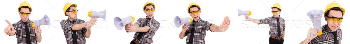 Jóvenes trabajador de la construcción altavoz aislado blanco negocios Foto stock © Elnur