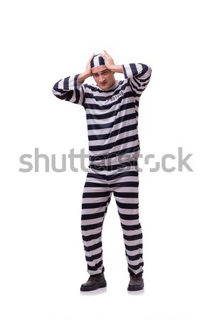 Man prisoner with clock isolated on white Stock photo © Elnur
