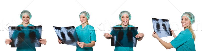 Stockfoto: Vrouw · arts · onderzoeken · Xray · afbeelding · ziekenhuis