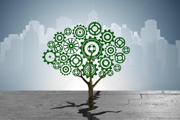 Fogaskerék fa növekvő föld törés technológia Stock fotó © Elnur