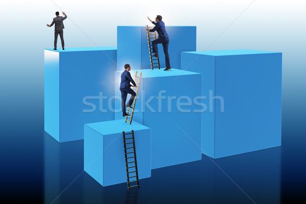 Biznesmen wspinaczki bloków wyzwanie działalności pracy Zdjęcia stock © Elnur