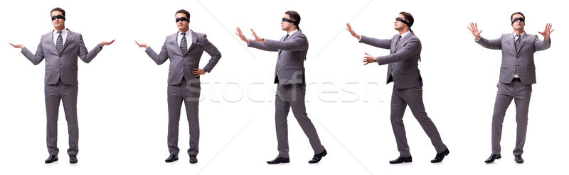 Bekötött szemű üzletember izolált fehér kéz férfi Stock fotó © Elnur