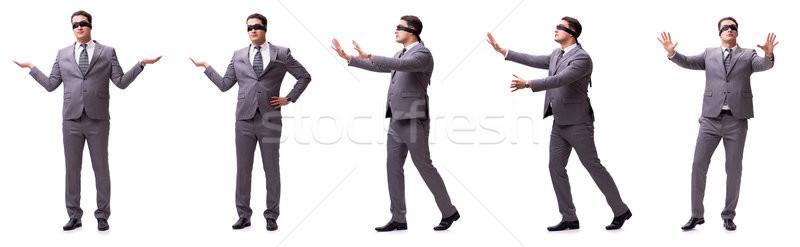 Geblinddoekt zakenman geïsoleerd witte hand man Stockfoto © Elnur