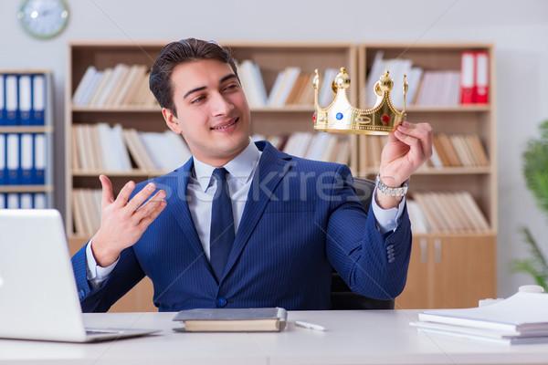 Króla biznesmen pracy biuro uśmiech szczęśliwy Zdjęcia stock © Elnur