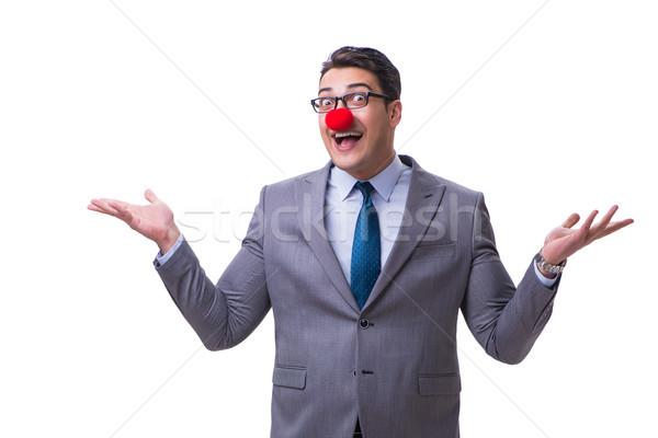 Foto d'archivio: Divertente · clown · imprenditore · isolato · bianco · party