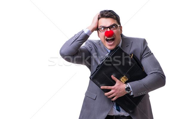 Funny payaso maletín blanco cara hombre Foto stock © Elnur