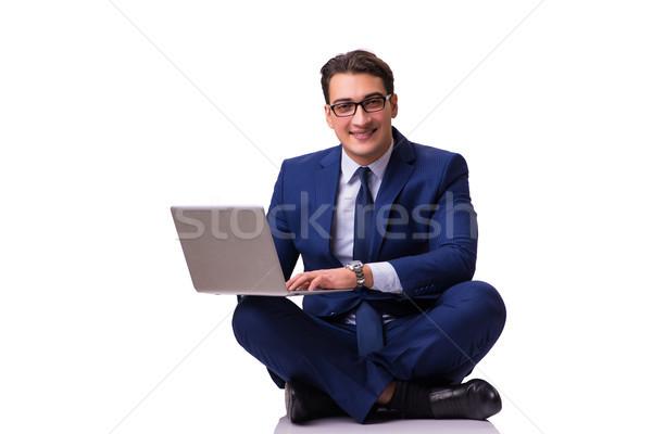 Işadamı oturma zemin yalıtılmış beyaz dizüstü bilgisayar Stok fotoğraf © Elnur