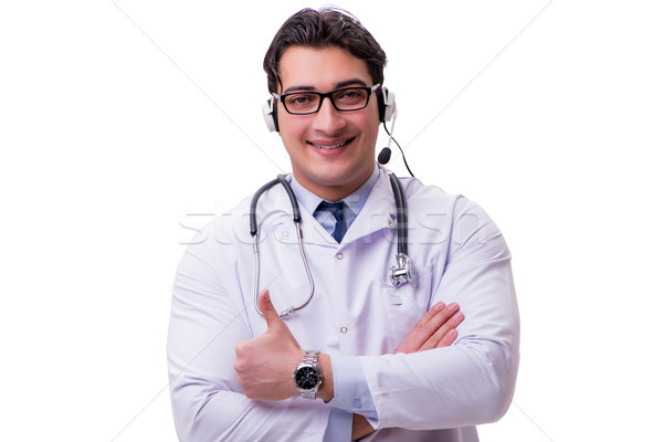 The young doctor with phone headset isolated on white Stock photo © Elnur