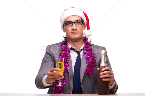 Young businessman celebrating christmas in office Stock photo © Elnur