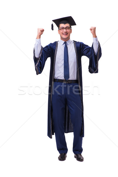 Young man student graduating isolated on white Stock photo © Elnur