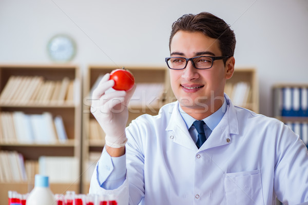 Stock photo: Scientist working on organic fruits and vegetables