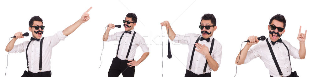 The funny man with mic isolated on white Stock photo © Elnur
