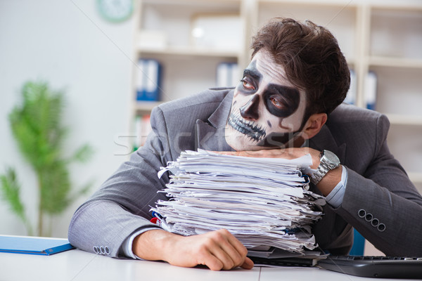 Ijesztő arc maszk dolgozik iroda üzletember Stock fotó © Elnur