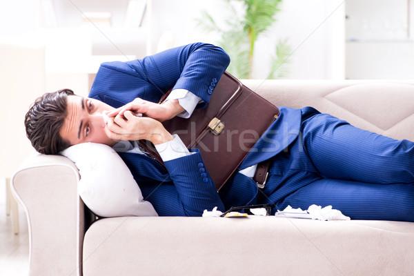 Beteg alkalmazott otthon szenvedés iroda férfi Stock fotó © Elnur