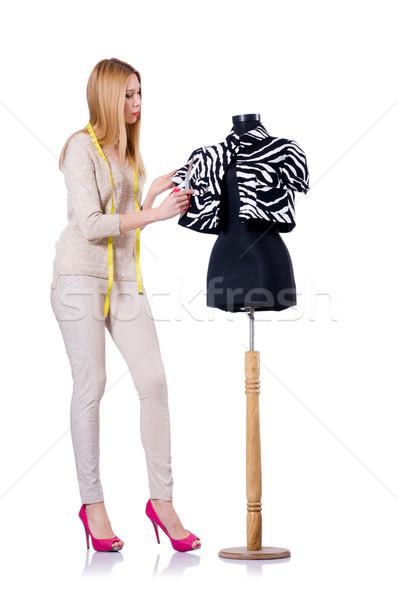 Kadın terzi yalıtılmış beyaz moda çalışmak Stok fotoğraf © Elnur