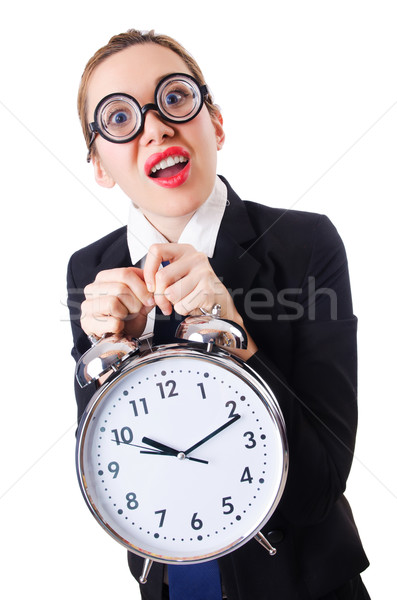 Nerd businesswoman with gian alarm clock Stock photo © Elnur