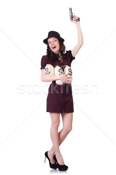 Nő gengszter fegyver pénz szexi modell Stock fotó © Elnur
