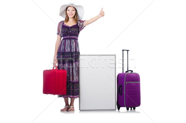 Nő Panama vakáció bőrönd izolált fehér Stock fotó © Elnur