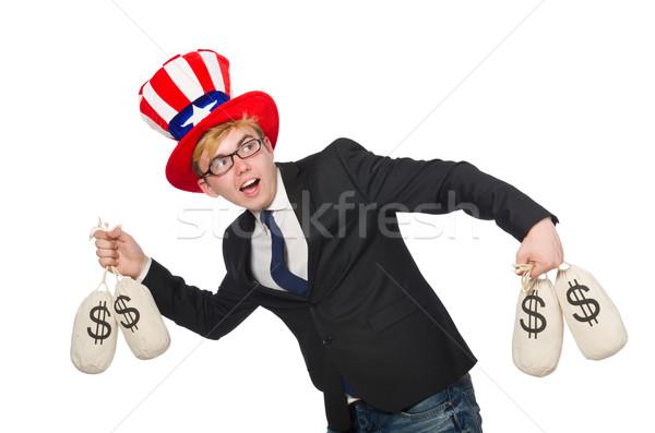 Férfi dollár fehér férfi üzlet boldog munka Stock fotó © Elnur