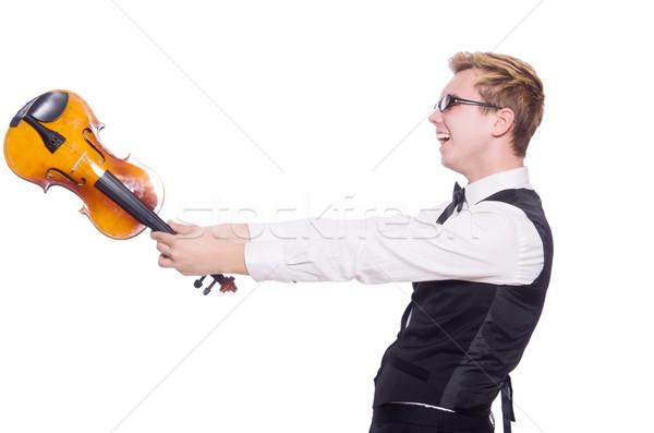смешные скрипки игрок белый человека звук Сток-фото © Elnur