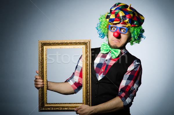 Komik palyaço resim çerçevesi gülümseme yüz çerçeve Stok fotoğraf © Elnur