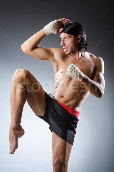 Küzdősportok vadászrepülő képzés kéz fitnessz doboz Stock fotó © Elnur