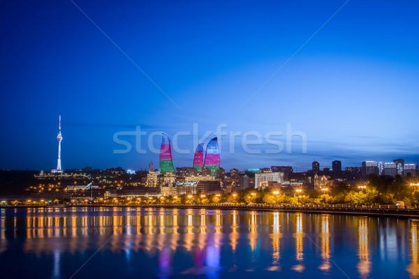 Noc Fotografia Azerbejdżan miasta wygaśnięcia morza Zdjęcia stock © Elnur