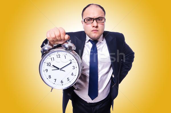 Сток-фото: бизнесмен · часы · изолированный · белый · человека · работу
