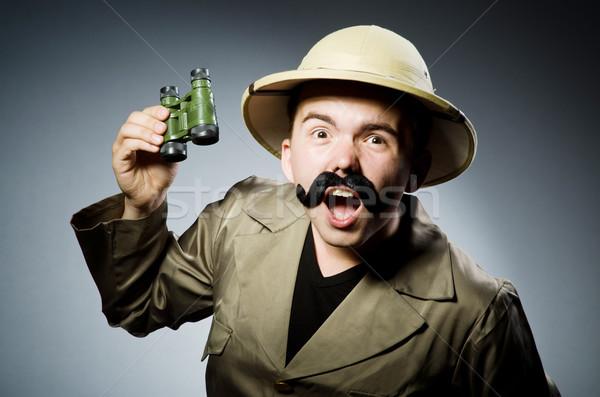 Hombre safari sombrero caza campo funny Foto stock © Elnur