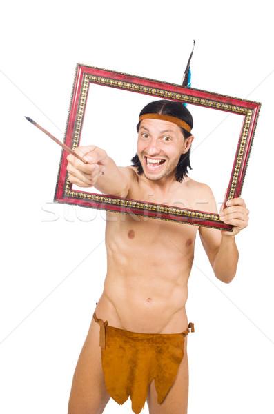 Tubylec amerykański funny odizolowany biały nude Zdjęcia stock © Elnur