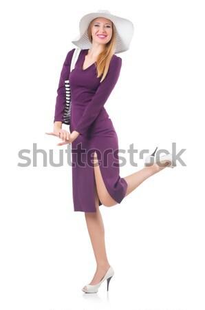 Frau Tasche Mode Modell weiß Shirt Stock foto © Elnur