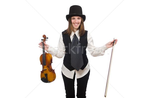 Kobieta skrzypce gracz odizolowany biały koncertu Zdjęcia stock © Elnur