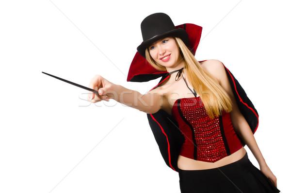 Mujer mago varita mágica blanco sonrisa negro Foto stock © Elnur
