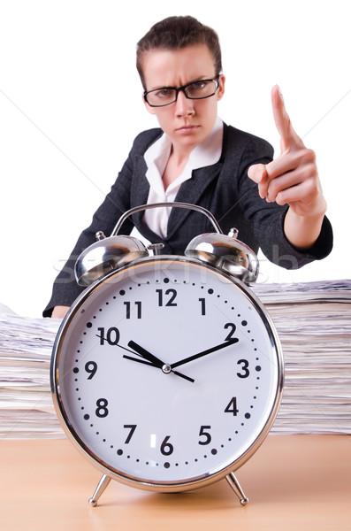 Femme femme d'affaires stress manquant horloge Photo stock © Elnur
